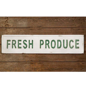 "Embossed Metal ""Fresh Produce"" Sign"