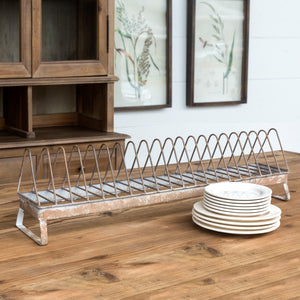 Metal Rusty Chicken Feeder Plate Rack