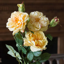 Load image into Gallery viewer, Faux Yellow Garden Roses Stem, 3 assorted styles