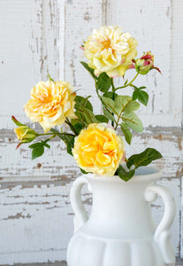 Faux Yellow Garden Roses Stem, 3 assorted styles