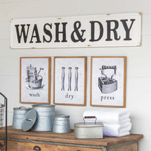 "Load image into Gallery viewer, Embossed Metal ""Wash & Dry"" Sign"