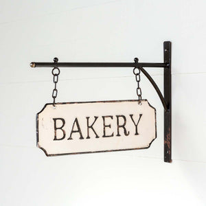 "Vintage Style Metal ""Bakery"" Sign with Hanging Bar"