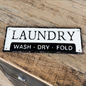 "Embossed Metal ""Laundry"" Sign"