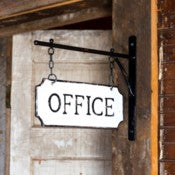 "Vintage Style Metal ""Office"" Sign with Hanging Bar"