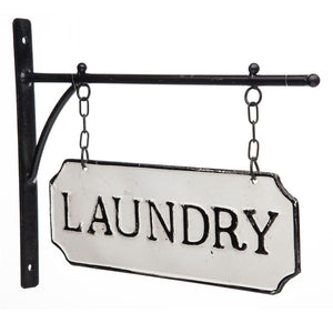 "Vintage Style Metal ""Laundry"" Sign with Hanging Bar"