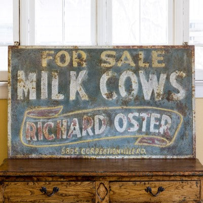 Metal Milk Cow Advertisement Sign