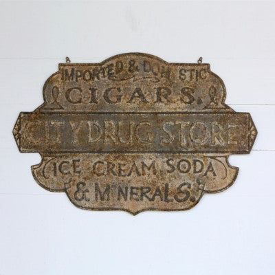 Embossed Metal Drug Store Sign