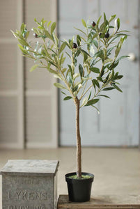 "Faux 31"" Potted Olive Tree Bush"
