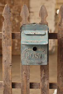 Metal Blue Rosetta Post Box