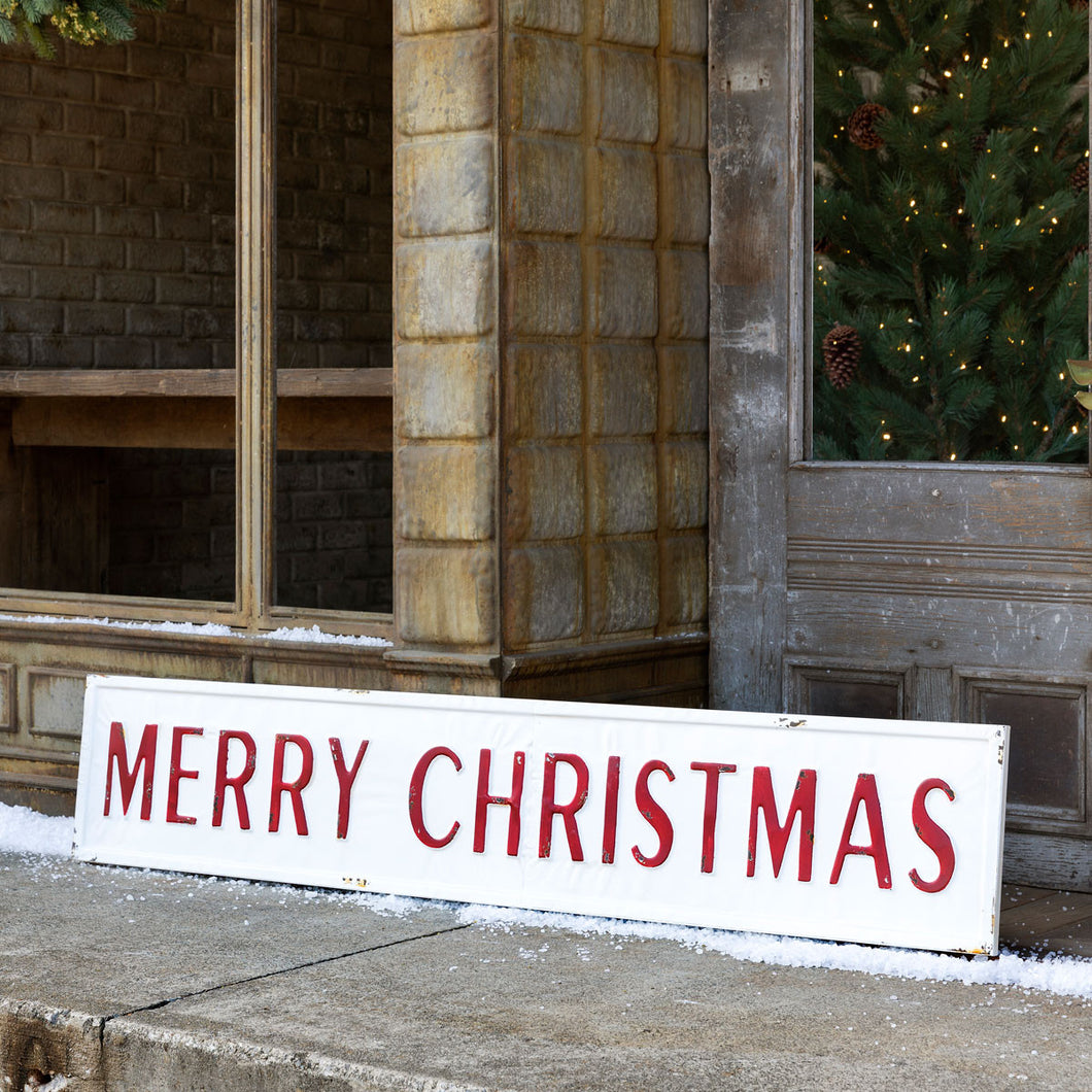 Embossed Metal Merry Christmas Sign