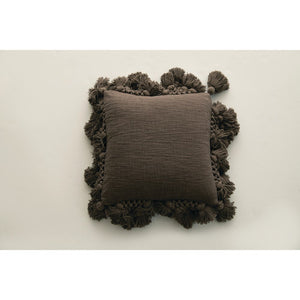 Farmhouse Iron Cotton Woven Square Pillow w/ Tassels