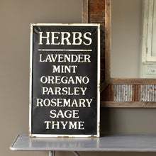 Load image into Gallery viewer, Embossed Metal Herbs Sign