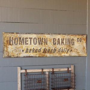 "Embossed Metal ""Hometown Baking Co"" Sign"