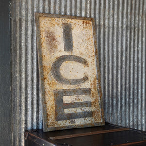"Embossed Metal ""Ice"" Sign"