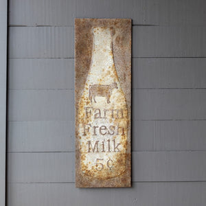 "Embossed Metal ""Farm Fresh Milk"" Sign"