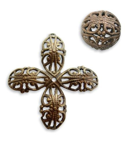 14mm Round Filigree Bead - Wrap - Natural Brass (12 pcs)