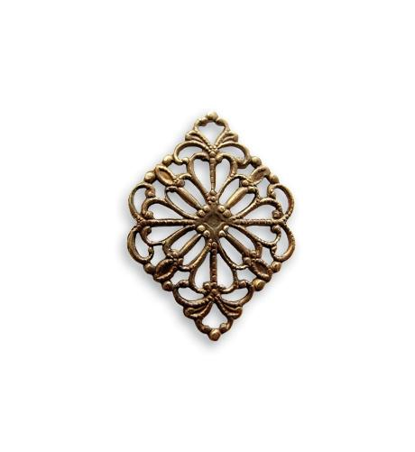 21x15mm Diamond Filigree - Natural Brass (48 pcs)