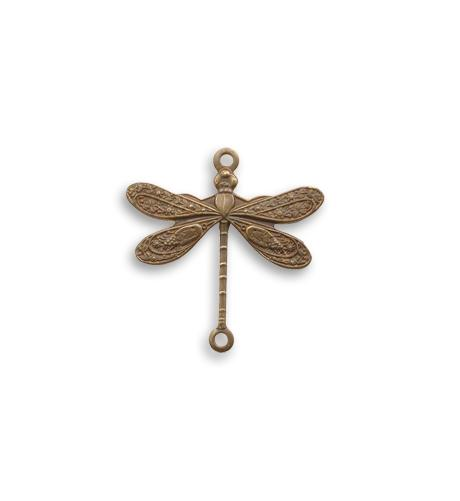 17x17mm 2-hole Dragonfly - Natural Brass (20 pcs)