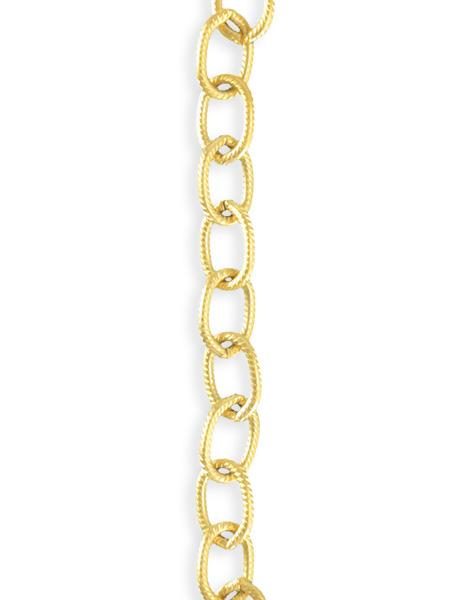 6.5x9.5mm Etched Cable Chain - 10K Gold Plated (7 ft)