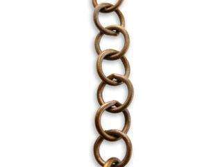 10.2x10.5mm Round Link Chain - Natural Brass