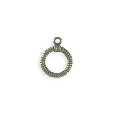 17x14mm Rib Toggle Ring - Copper Verdigris Plated (23 pcs)