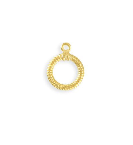 17x14mm Rib Toggle Ring - 10K Gold Plated (23 pcs)