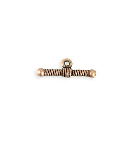 20x7mm Rib Toggle Bar - Copper Antique Plated (23 pcs)