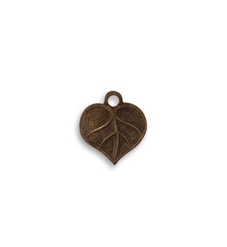 13x12mm Teensie Nouveau Leaf  - Natural Brass (36 pcs)