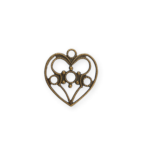 19x18mm Delicate Heart - Natural Brass (20 pcs)