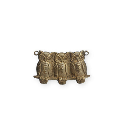 22x11.5mm Perched Owls - Natural Brass (18 pcs)