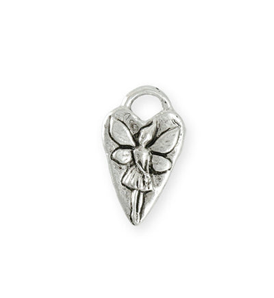 25x15mm Fairy Heart [Green Girl Studios] - Sterling Silver Antique (1pc)