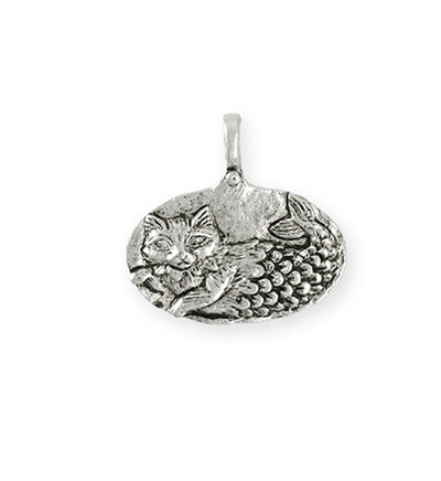 23.5x23mm Catfish [Green Girl Studios] - Sterling Silver Antique (1pc)
