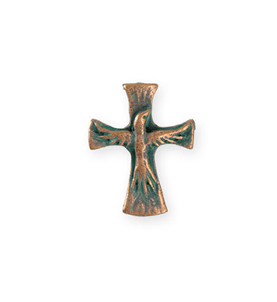 23x18mm Dove Cross [Green Girl Studios] - Copper Verdigris (1pc)