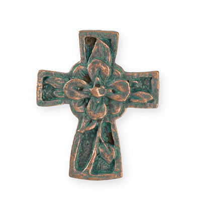 36.5x29.5mm Flower Cross [Green Girl Studios] - Copper Verdigris (1pc)