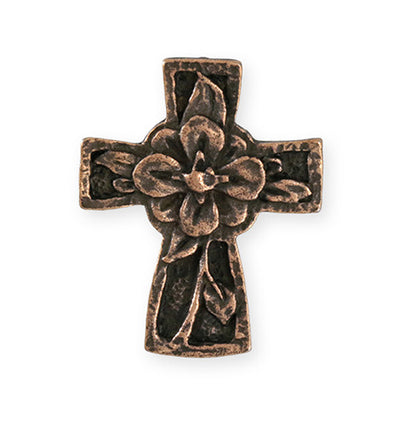 36.5x29.5mm Flower Cross [Green Girl Studios] - Copper Antique (1pc)