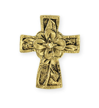 36.5x29.5mm Flower Cross [Green Girl Studios] - 10K Gold Antique (1pc)