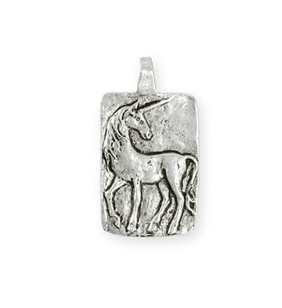 30.5x17mm Believe Unicorn [Green Girl Studios] - Sterling Silver Antique (1pc)