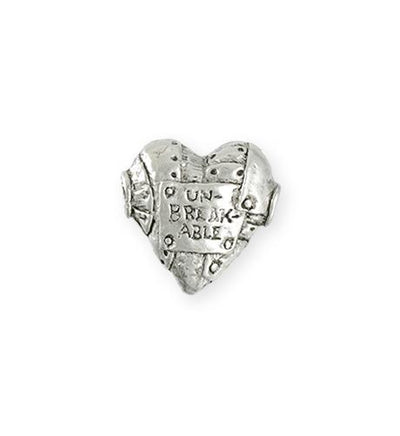 19x18mm Unbreakable Heart [Green Girl Studios] - Sterling Silver Antique (1pc)