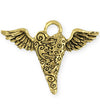 52.5x40mm Flying Heart [Green Girl Studios] - 10K Gold Antique (1pc)