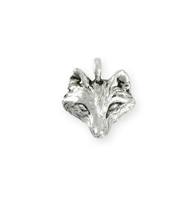 19.5x18.5mm Wolf [Green Girl Studios] - Sterling Silver Antique (1pc)