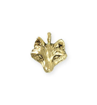 19.5x18.5mm Wolf [Green Girl Studios] - 10K Gold Antique (1pc)
