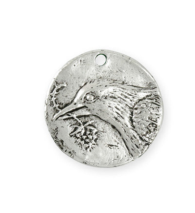29x28.5mm Bird Hope Coin [Green Girl Studios] - Sterling Silver Antique (1pc)