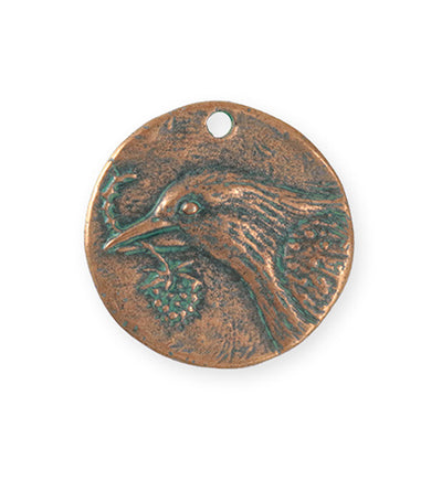 29x28.5mm Bird Hope Coin [Green Girl Studios] - Copper Verdigris (1pc)