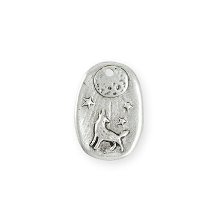 23x16.5mm Howling Wolf [Green Girl Studios] - Sterling Silver Antique (1pc)