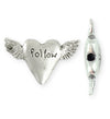 32.5x20mm Follow Heart [Green Girl Studios] - Sterling Silver Antique (1pc)