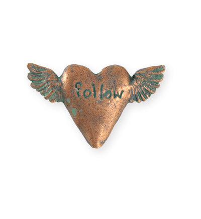 32.5x20mm Follow Heart [Green Girl Studios] - Copper Verdigris (1pc)