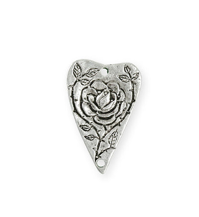 27.5x18mm Heart Rose [Green Girl Studios] - Sterling Silver Antique (1pc)
