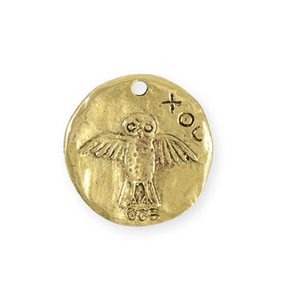 26x25.5mm Owl Coin [Green Girl Studios] - 10K Gold Antique (1pc)