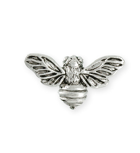 34.5x20mm Honeybee [Green Girl Studios] - Sterling Silver Antique (1pc)