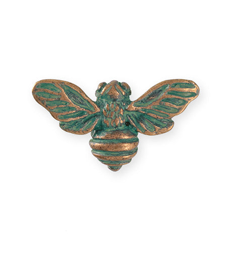 34.5x20mm Honeybee [Green Girl Studios] - Copper Verdigris (1pc)